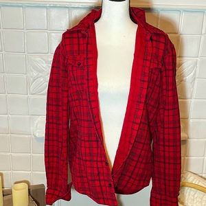 Foreign Exchange Red Flannel Shirt w Hood